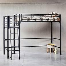 lit mezzanine 1 place noir avec plateforme 90x200 cm