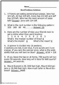 fractions worksheets grade 5 word problems with answers 4233 pin on math