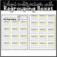 subtraction with regrouping worksheets with boxes 10735 3 digit subtraction with regrouping boxes by maher tpt