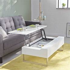 Table Basse Blanche Avec Tablette Relevable Novy