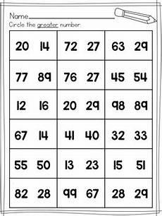 simple comparing numbers worksheets 2 digit numbers by
