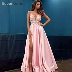 2019 pink prom dresses long lace applique 3d flower beaded prom gown vestido de festa de longo