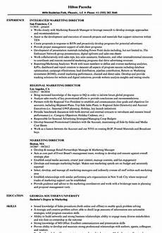 marketing director resume sles velvet