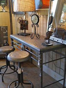 sofa table two stools industrial style