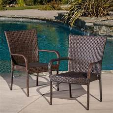 Outdoor Chairs set of 2 outdoor patio furniture brown wicker stackable