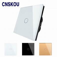 hot sale eu standard touch switch 1 gang 1 way wall light touch screen switch white crystal