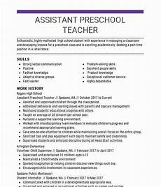 assistant preschool teacher resume sle livecareer