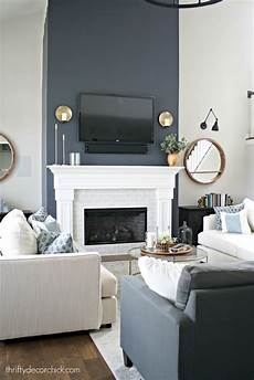 tall fireplace wall transformation with paint from