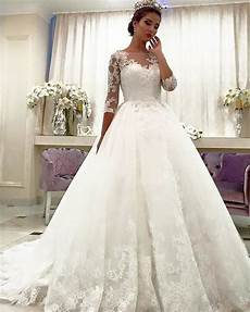 lace bridal dresses with long sleeves princess wedding gown siaoryne
