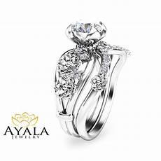 unique diamond engagement ring floral 14k white gold bridal ring ebay