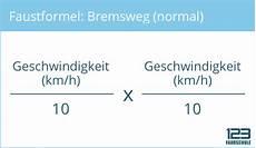 faustformeln zur berechnung reaktionsweg bremsweg