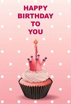 Happy Birthday Card Template With Pink Cupcake