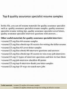 top 8 quality assurance specialist resume sles