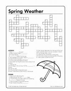 spring weather crossword puzzle worksheet for 4th 8th grade lesson planet