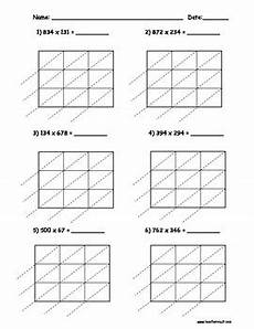 lattice multiplication 3 digit by 3 digit 10 pages by