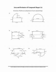 geometry worksheets area and perimeter 612 the area and perimeter of compound shapes a math worksheet from the measurement worksheets