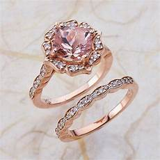 vintage bridal morganite engagement ring and scalloped diamond wedding band in 14k rose gold