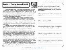 earth science reading comprehension worksheets 13265 ecology taking care of earth 4th grade reading comprehension worksheet