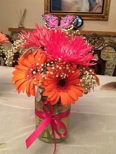 gerber daisies and spider mums in a jar gerber