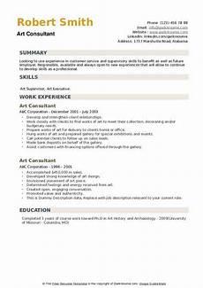 art consultant resume sles qwikresume