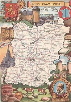 1 Carte Du D 233 Partement 53 Mayenne Cartes Postales