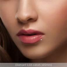 piercing levre diamant piercing labret en or blanc et diamant 0 03 carats