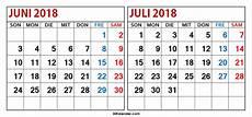 Kalender 2018 Juli - kalender juni juli 2018 ausdrucken 2018