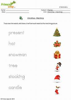 christmas worksheet matching words and pictures