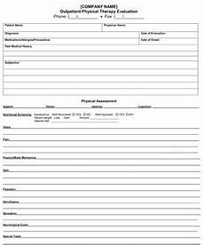 outpatient physical therapy evaluation small business free forms