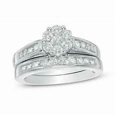 1 ct t w diamond flower bridal in 10k white gold