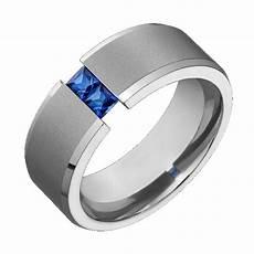 mens titanium wedding band blue sapphire tension comfort fit ring sz 4 to 14 ebay