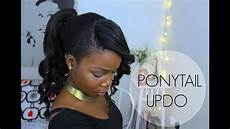 ponytail hairstyle updo with bangs african hair youtube