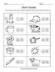 short vowel sounds worksheets for preschool and kindergarten kids