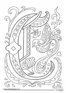 illuminated letter c colouring page