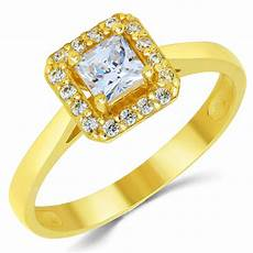 14k solid yellow gold cz cubic zirconia solitaire halo design engagement ring ebay