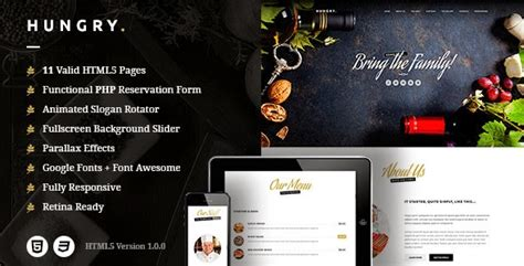 hungry a wordpress one page restaurant theme