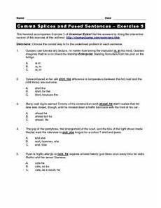 grammar worksheets comma splices worksheet 3 16 exercises 24726 comma splices and fused sentences exercise 5 worksheet for 5th 8th grade lesson planet