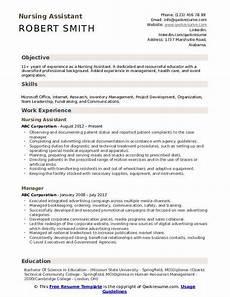 nursing assistant resume sles qwikresume