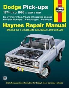 old cars and repair manuals free 2012 dodge challenger lane departure warning dodge fullsize pick ups 1974 thru 1993 2wd 4wd six cylinder inline v6 and v8 gasoline