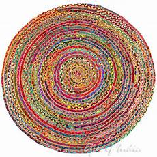 bunter runder teppich colorful jute rug chindi rag rugs of india
