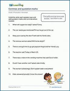 punctuation worksheets for grade 3 k5 20988 commas and quotation marks worksheets k5 learning
