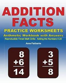 buy addition facts practice worksheets arithmetic workbook with answers reproducible timed math