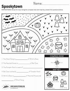 mapping worksheets for high school 11497 spookytown map worksheet with images map skills worksheets grade worksheets map skills