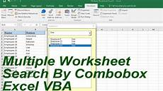 multiple worksheet search by combobox excel vba youtube