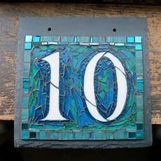 2 digit mosaic house number on 8x8 inch slate mosa