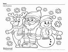 coloring page santa reindeer snowman universal