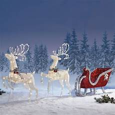 Reindeer Decorations Outdoor by Details About New Sleigh Reindeers With 400 Led Lights