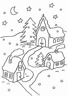 ausmalbilder haus mit schnee kostenlose malvorlage weihnachten verschneites dorf zum
