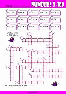 number exercises 18984 numbers 0 100 crossword worksheet kindergarten level learn for englisch