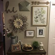 entryway gallery wall with a rustic farmhouse theme most pieces found hobby lobby home
